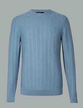 Cotton Rich Textured Jumper, BLUE, catlanding