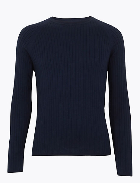 Supima® Cotton Ribbed Crew Neck Jumper
