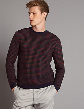 Pure Cotton Textured Slim Fit Jumper, NAVY MIX, catlanding