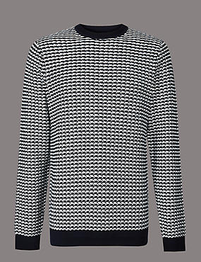 Pure Cotton Textured Slim Fit Jumper, NAVY/WHITE, catlanding