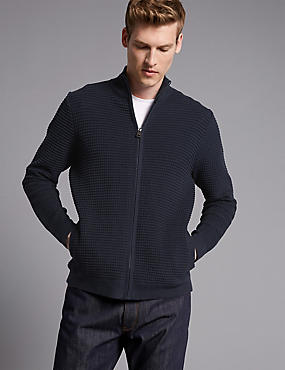 Cotton Rich Textured Slim Fit Cardigan, NAVY, catlanding