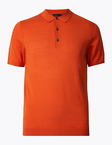 Silk Cotton Short Sleeve Knitted Polo Shirt