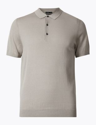 c9ac81c44 Silk Cotton Short Sleeve Knitted Polo Shirt £29.50