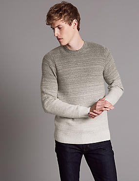 Slim Fit Jumper with Merino and Cashmere, GREY MIX, catlanding