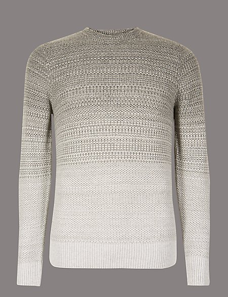 Textured Slim Fit Jumper with Wool