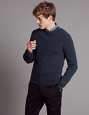 Merino Slim Fit Nep Jumper with Cashmere, NAVY, catlanding