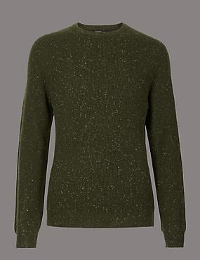 Wool Rich Textured Slim Fit Jumper, KHAKI, catlanding