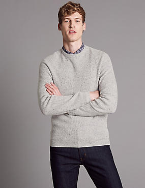 Merino Slim Fit Nep Jumper with Cashmere, SILVER GREY, catlanding