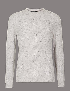 Wool Rich Textured Slim Fit Jumper, SILVER GREY, catlanding