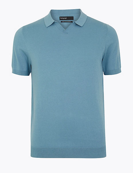 Silk Cotton Open Neck Knitted Polo