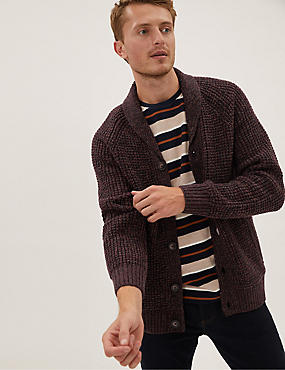 Chunky Shawl Collar Cardigan with Wool