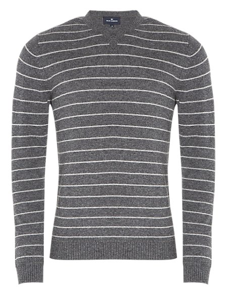 2in Longer Extrafine Pure Lambswool Crew Neck Striped Jumper