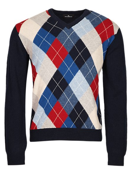 Extrafine Pure Lambswool Argyle Jumper