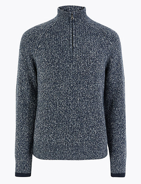 Textured Half Zip Funnel Neck Jumper with Cotton