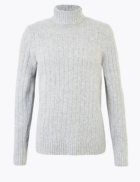 Roll Neck Jumper with Wool