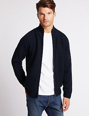 Textured Zipped Through Cardigan, DENIM, catlanding