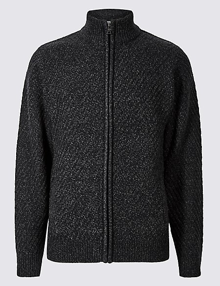 Textured Zip Through Cardigan