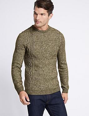 Cotton Rich Cable Knit Jumper, KHAKI, catlanding