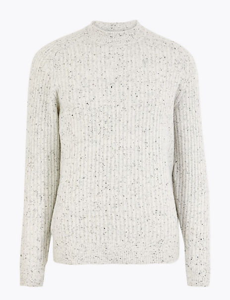 High Crew Neck Jumper with Wool