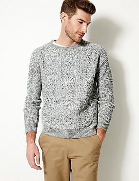 Cable Knit Jumper , WINTER WHITE, catlanding