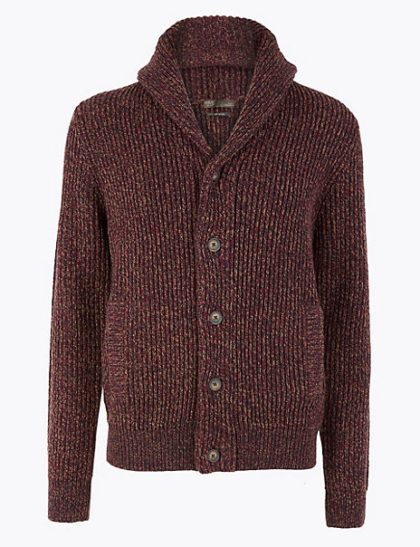 Chunky Shawl Neck Cardigan with Wool