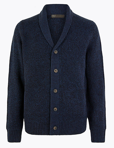 Textured Shawl Neck Cardigan