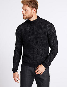 Supersoft High Neck Jumper with Wool, NAVY, catlanding