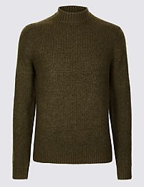 Textured High Crew Neck Jumper