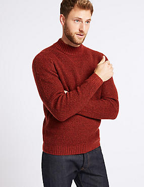 Supersoft High Neck Jumper with Wool, RUST, catlanding