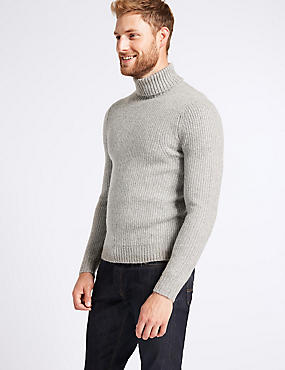 Supersoft Roll Neck Jumper with Wool, GREY, catlanding