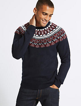Cosy Christmas Fairisle Jumper, NAVY/RED, catlanding