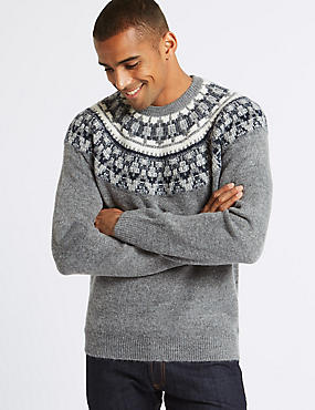 Cosy Christmas Fairisle Jumper, GREY MIX, catlanding