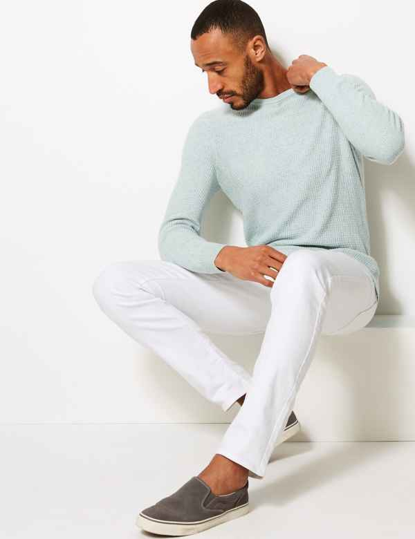 8436bd28f83 Pure Cotton Textured Crew Neck Jumper