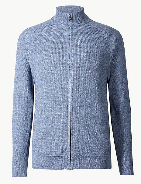 Pure Cotton Textured Zip Through