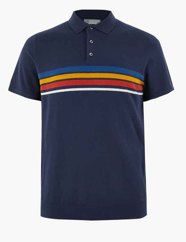 b1f302a84 Striped Knitted Polo Shirt