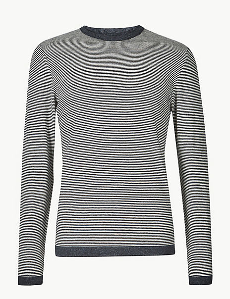 Cotton with Linen Stripe Jumper