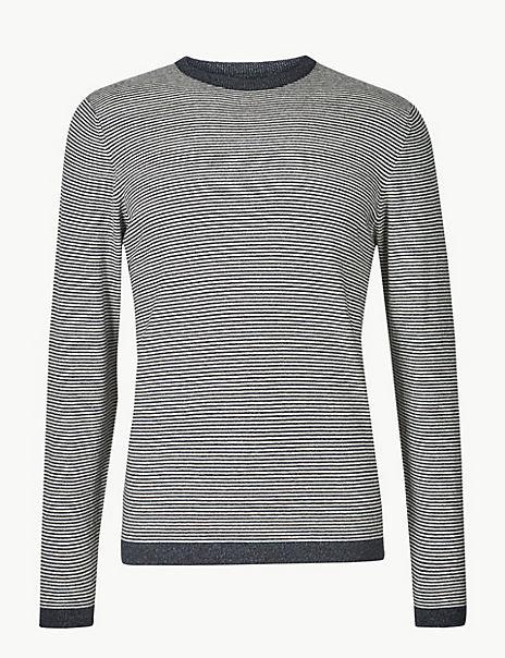 Cotton with Linen Stripe Jumper