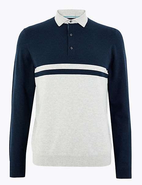Cotton Striped Long Sleeve Polo Shirt