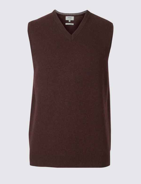 0f08bda6a33f99 Pure Lambswool Sleeveless Jumper. Big   tall sizes available