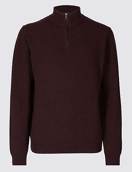 Pure Extra Fine Lambswool Zip Neck Jumper