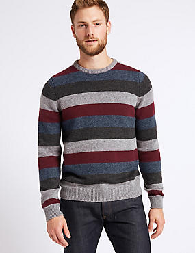 Striped Jumper with Lambswool & Alpaca , BURGUNDY MIX, catlanding
