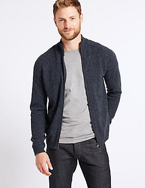 Pure Lambswool Textured Zip Through, DENIM, catlanding