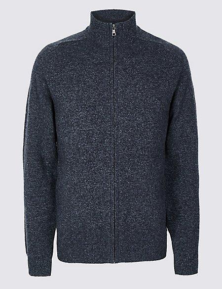 Pure Wool Textured Cardigan