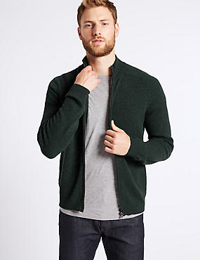 Pure Lambswool Textured Zip Through, GREEN, catlanding