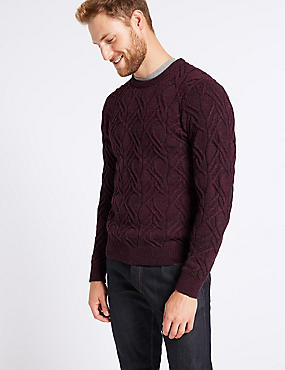 Cable Knit Jumper with Lambswool & Alpaca, BERRY, catlanding