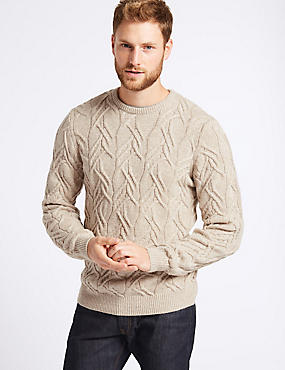 Cable Knit Jumper with Lambswool & Alpaca, NEUTRAL, catlanding