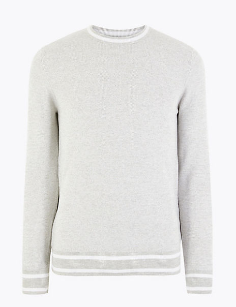 Pure Cotton Tipped Crew Neck Jumper