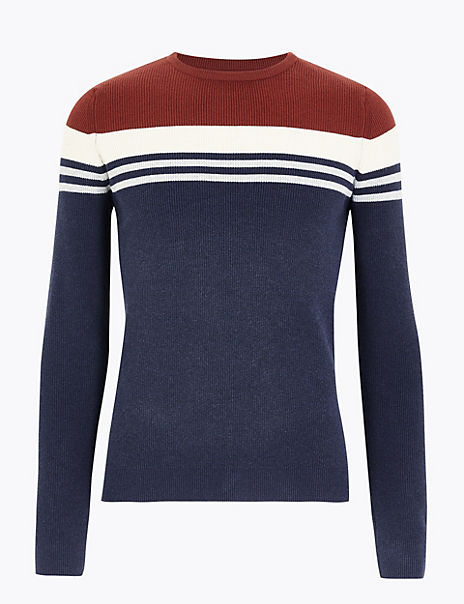 Cotton Blend Stripe Crew Neck Jumper
