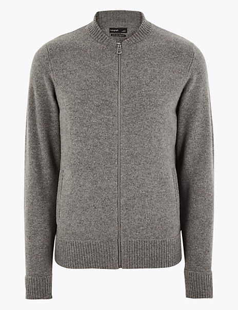 Extra Fine Lambswool Felted Bomber Cardigan