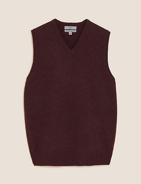 Pure Lambswool Sleeveless V-Neck Jumper